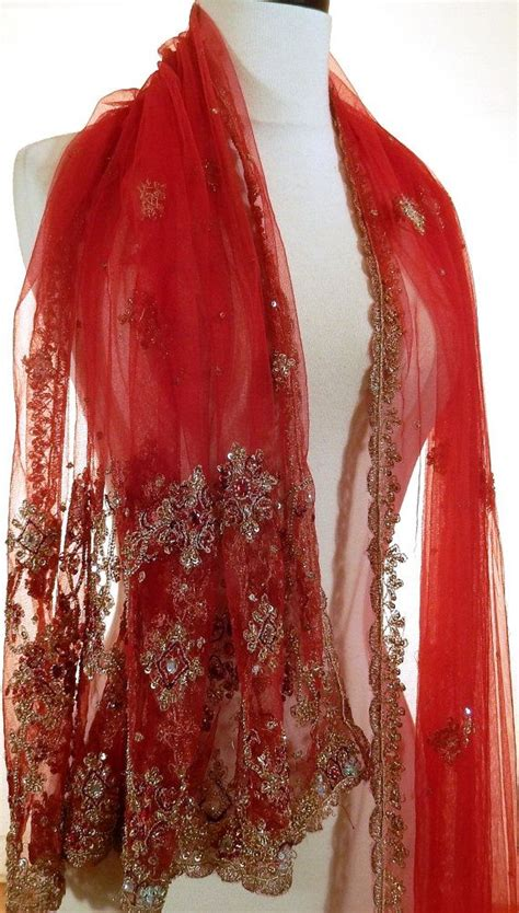 formal evening wrap red shawl beaded shawl indian