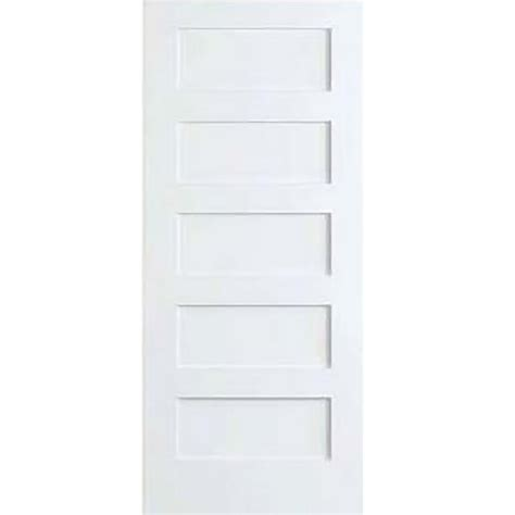 White Wood Interior Doors Bay 36 In X 80 In White 5 Panel Shaker Solid Wood Interior Door Slab Dpsha5w36