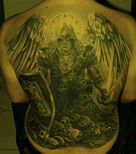 warrior angel tattoos awesome warrior in armor on whole back