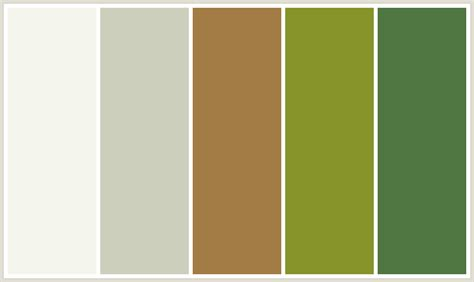 colors that go with green colorcombo184 with hex colors f3f4ec cccfbc a37b45