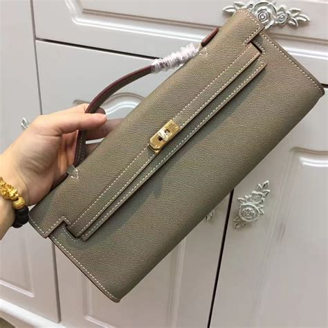 Hermes Cut Clutch Epsom Leather Mirror Quality hermes cut 31cm epsom leather clutch elephant grey