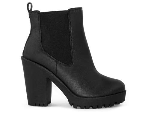 black leather platform chelsea boots shelikes