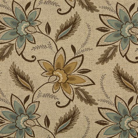flower upholstery fabric aqua brown on beige large flowers with leaf damask