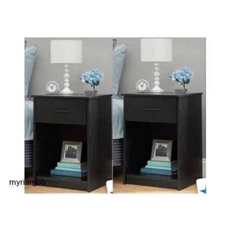 Black Nightstand Set Of 2 Set Of 2 Nightstand Mdf End Tables Pair Bedroom Table