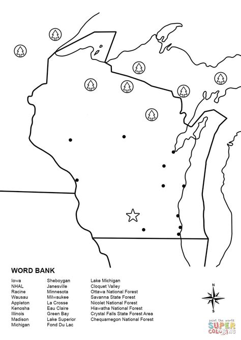 Wisconsin Map Worksheet coloring page | Free Printable