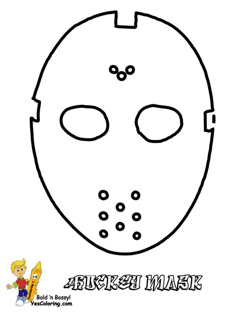 printable goalie mask hat trick hockey coloring sheets free hockey players