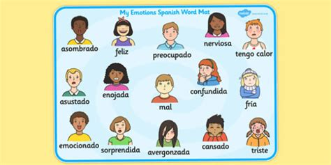 Emotions Word Card Spanish Language Spain Emotion Visuals