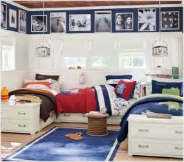 Beautiful boys room with storage beds arranged in a u shape