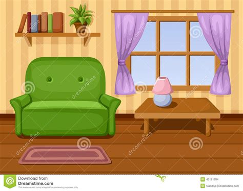Brown Living Room Clipart Living Room Vector Illustration Stock Vector Image