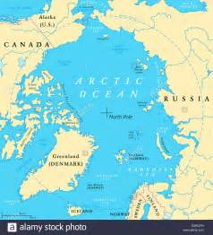 arctic map with pole and arctic circle arctic