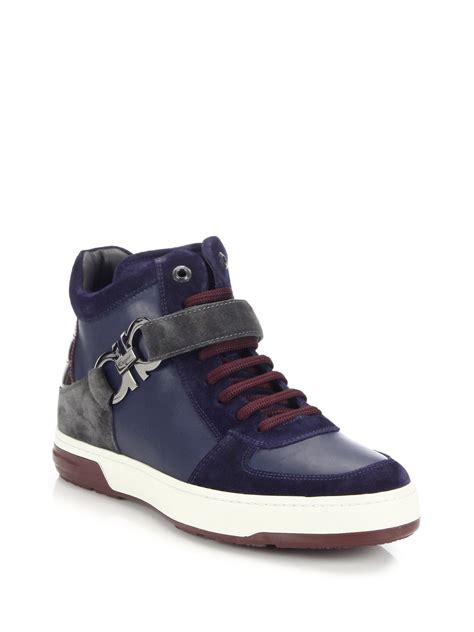ferragamo sneakers mens ferragamo nayon leather high top sneakers in blue for