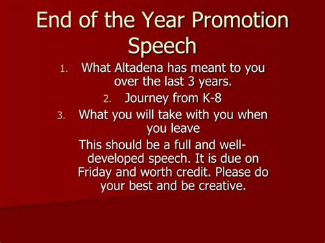 End Of Year Speech Sles ppt end of the year promotion speech powerpoint