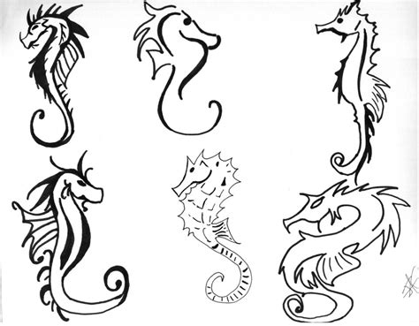seahorse tattoo designs black simple seahorse drawing at getdrawings free for