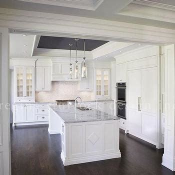 Tray Ceiling Kitchen Dining Room With Freestanding Gray China Cabinet