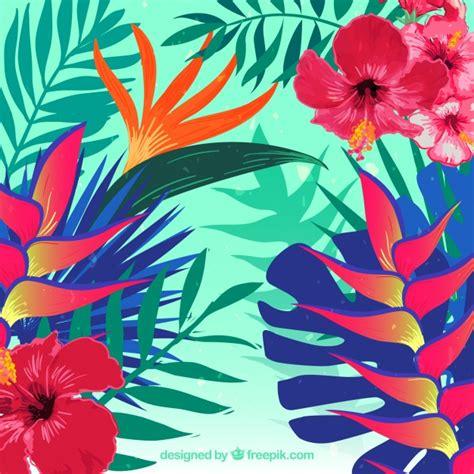 imagenes gratis flores exoticas fondo de flores tropicales realista descargar vectores