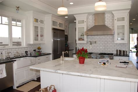 White Tiles With Grey Grout Kitchen by Gary M