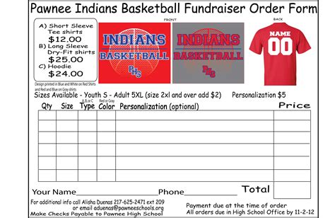 Pawnee Cusd 11 Basketball T Shirts T Shirt Fundraiser Flyer Template