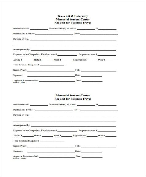 travel request form request form template