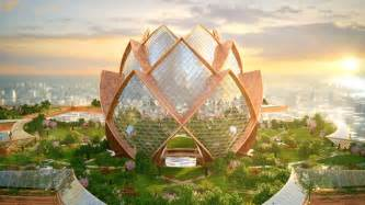 Lotus Flower Architecture City In The Sky Is A Futuristic Oasis That Lingers Above