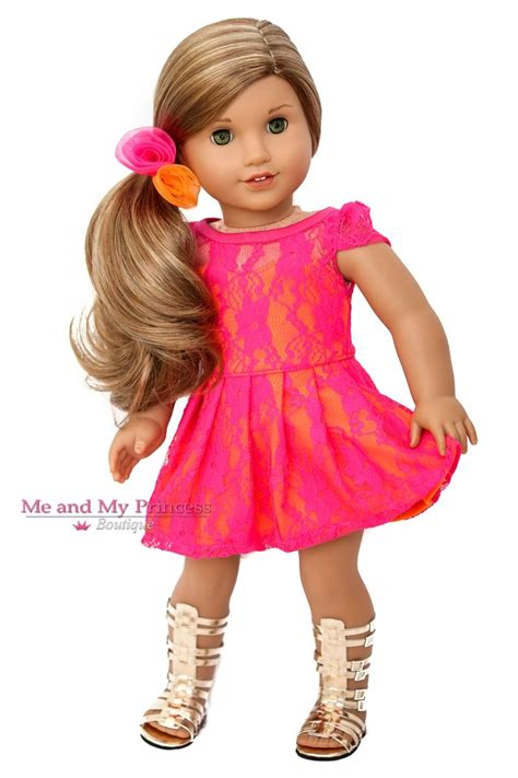 Lace Hair Tie 18 inch doll clothes for american doll pink
