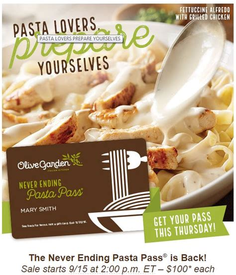olive garden year pass olive garden never ending pasta pass promotion returns on sale at 2 p m thursday sept 15
