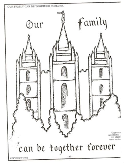 Lds Nursery Color Pages 26 Families Can Be Together Forever Salt Lake Temple Coloring Page