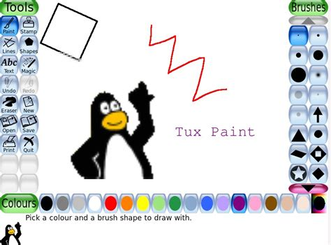 tux paint free play pin play tux paint on