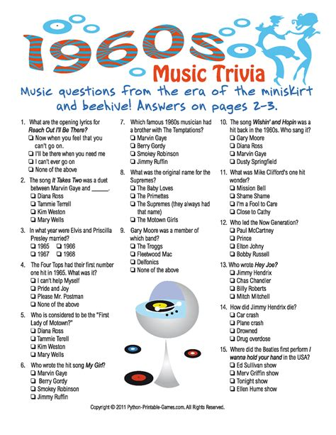 printable quiz 1960s music trivia game 50 s 60 s rock n roll party