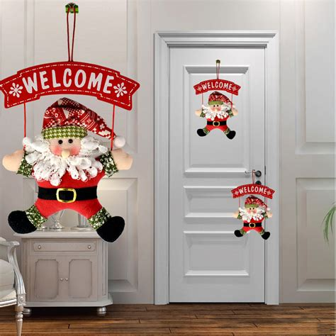 santa claus snowman tree door christmas decoration for