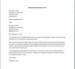 waitress cover letter exle resignation letter 187 employee resignation letter template