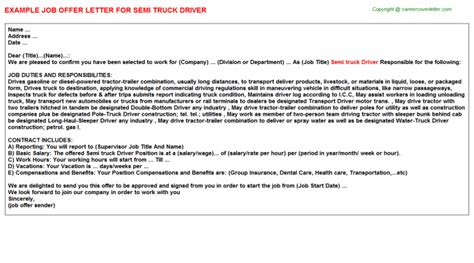 appointment letter format of driver semi truck driver offer letter sle format