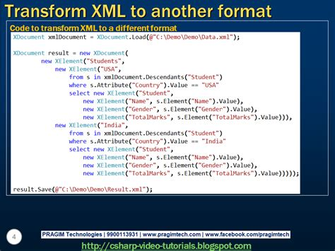 tutorial linq to xml sql server net and c video tutorial part 7 transform