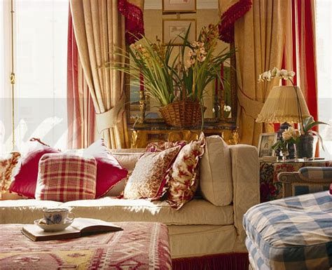 red and cream living room image patterned red cushions on cream sofa in traditional