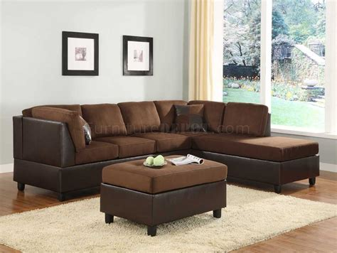 Brown Sectional 9909ch Comfort Sectional Sofa In Chocolate Microfiber By