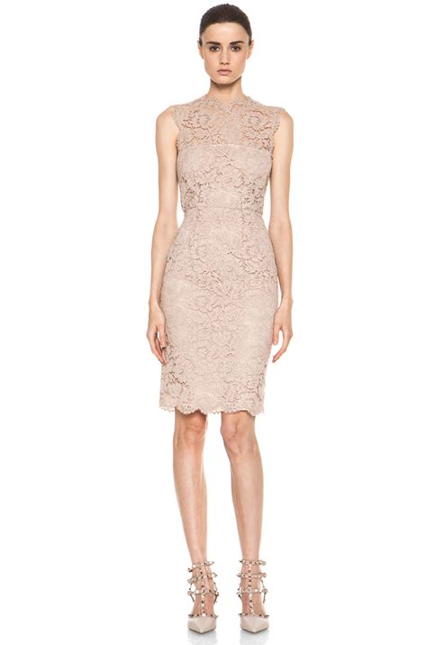 valentino tonal lace dress in nude in beige nude lyst