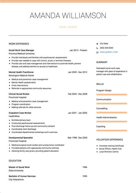 social workers cv exle social work cv exles and template