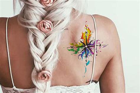 ta tattoo removal vida watercolor rainbow flying sparrow compass silhouette