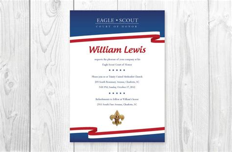 Bsa Blue Card Template by Eagle Scout Court Of Honor Invitations Card White