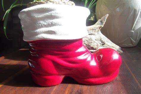 Santa Boots Planter by Vintage And White Ceramic Santa Boot Planter Vase