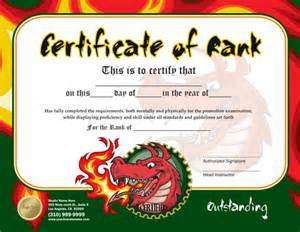 Martial Arts Certificate Templates Free Rank Certificate 8 5 X 11 Ma010505