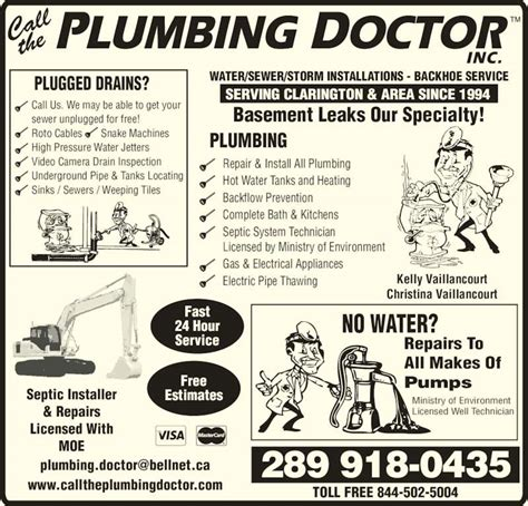Plumbing Parts Oshawa by Call The Plumbing Doctor Opening Hours 712 Wilson Rd S