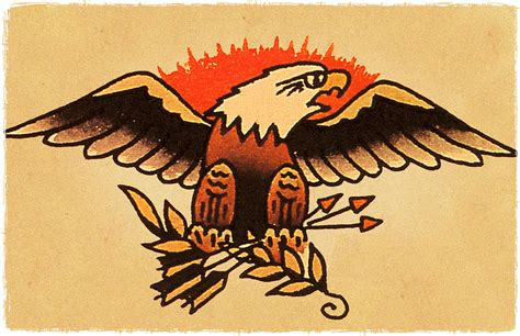 eagle tattoo flash american bald eagle vintage sailor jerry inspired