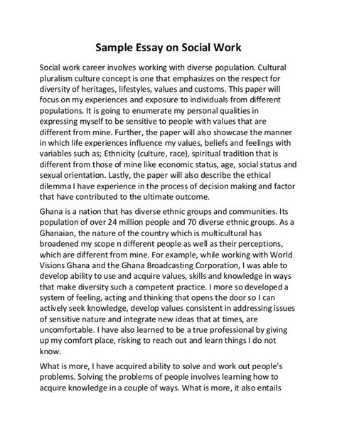 Social Work Essay Exles by Sle Essay On Social Work