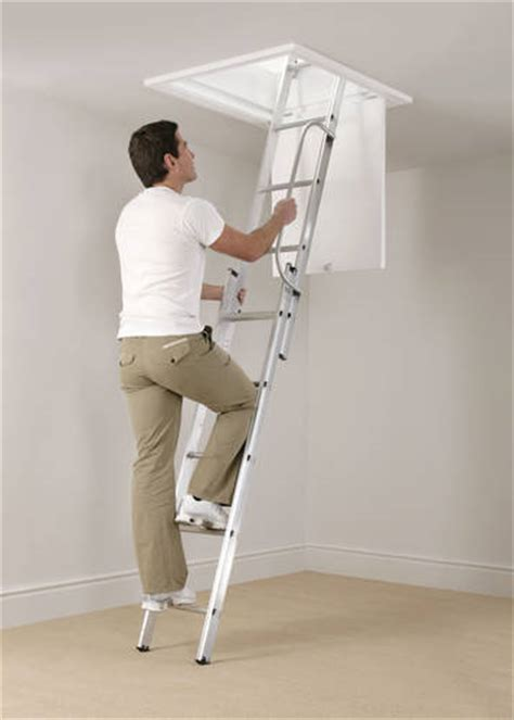 werner aluminium loft ladder 3 section abru arrow aluminium 3 section loft ladder with handrail