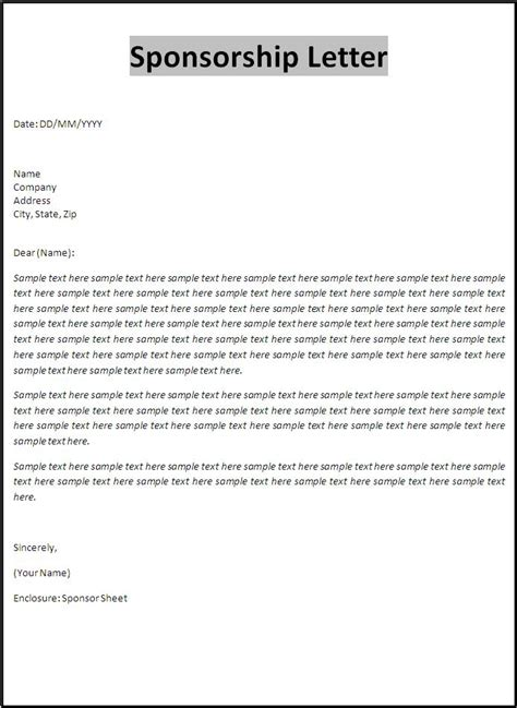 sponsorship letter template free word s templates