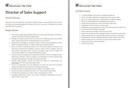director of sales support description a template to quickly document the and