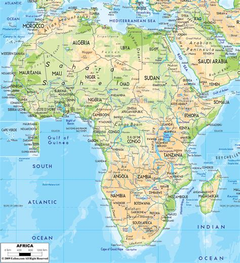 geographical map physical map of africa ezilon maps