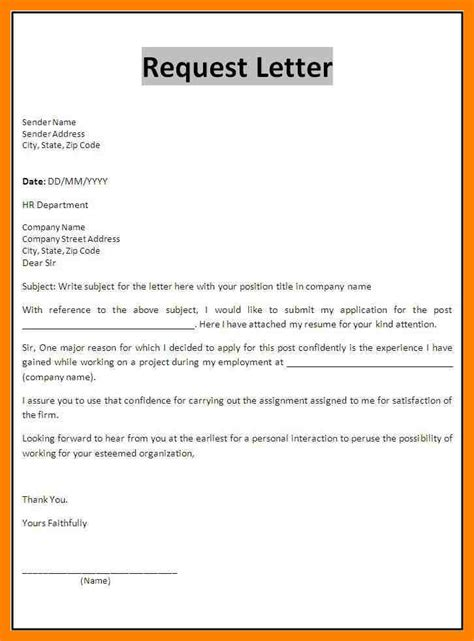 Write Letter Exles 9 How To Write An Official Letter Of Request Emt Resume