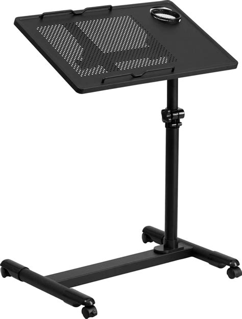 mobile laptop desk flash furniture black adjustable height steel mobile