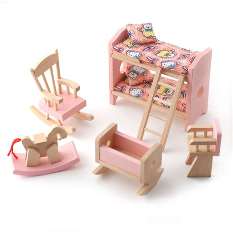 dolls house nursery furniture dcf011 child s bedroom set pink online dolls house superstore